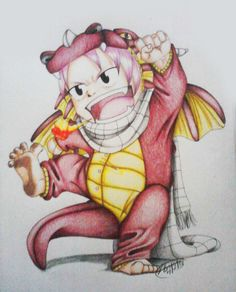 """One of my most favorite fan arts of FT, Natsu <3  what inspired me to create this was the idea of the little one wanting to be just like daddy so i threw him in a dragon onsie and set him off, I imagine him saying  """"RAWR, I'm a dragon!"""""""