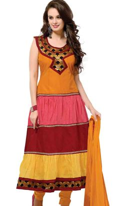 Indian Traditional Rust Chanderi Cotton Anarkali Dresses, Dress
