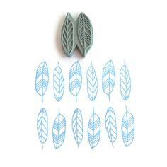 NEW Geo Feathers Pattern Stamp - Spring Feathers Geometric Border Rubber Stamp - Cling Rubber Stamp