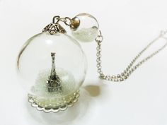 Eiffel Tower Glass Globe Necklace - Winter. Magical Terrarium Snowglobe Snow Globe by TheWabbitHole on Etsy
