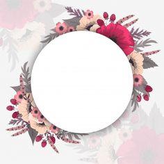 Bordas do círculo de flores Vetor grátis Framed Wallpaper, Flower Background Wallpaper, Flower Backgrounds, Backgrounds Free, Vector Flowers, Flower Clipart, Flower Circle, Flower Frame, Circle Borders