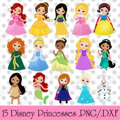 Shop for disney on Etsy, the place to express your creativity through the buying and selling of handmade and vintage goods. Princess Cartoon, Cute Princess, Little Princess, Disney Princess, Sailor Princess, Drawing Lessons For Kids, Paper Dolls Printable, Disney Images, Disney Scrapbook