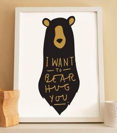 A4 Bear hug Print  Valentine's Day print by OldEnglishCo on Etsy, £15.00