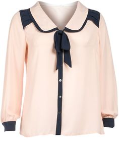 Manon Baptiste  Blouse with bow  in Apricot / Dark-Blue