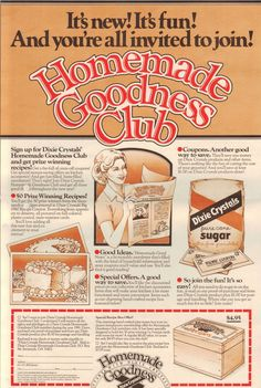 Imperial Sugar Homemade Goodness Club 1980 78 club newsletters, if I counted correctly. More pages as years progress. I included them to finish out the collection. Retro Recipes, Old Recipes, Vintage Recipes, Cookbook Recipes, Cooking Recipes, Heirloom Recipe, Look And Cook, Imperial Sugar, Recipe Links