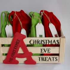 Product Price Quantity Total × Family Christmas Eve Treat Crate & Sacks Option: Crate & 4 Sacks Personalisation - Initial for Crate: C Personalisation - Wording For Initial: The Clayson family Personalisation - Wording for Crate: Christmas Eve treats Personalisation - Initials and colours for sacks, separated by commas: Green, red, green, red … Christmas Eve Crate, Xmas Eve Boxes, Christmas Treat Bags, Its Christmas Eve, Christmas Party Games, Christmas Makes, Christmas 2017, Family Christmas, All Things Christmas