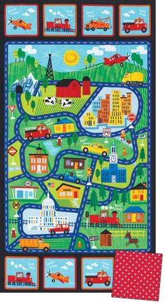 Roadway Cotton Fabric-Boys Fabric-Traffic Jam 24 Panel-Map-Fire Truck-City-Barn-Tow Truck-Toddler Boy This listing is for one panel Size: 24 inches Car Play Mats, Map Quilt, Keepsake Quilting, Country Scenes, Panel Quilts, Cotton Quilting Fabric, Quilt Kits, Fabric Panels, Quilt Patterns