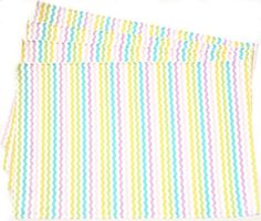 """Unique and Custom {12' x 18' Inch} Set Pack of 4 Rectangle """"Flat and Smooth Texture"""" Large Reversible Table Placemats Made of Washable Cotton Fabric w/ Pastel Spring Zig Zag Stripe Design [Assorted Color] >>> Quickly view this special  product, click the image   Food Service Equipment Supplies"""