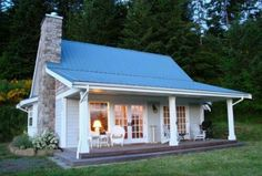 Tin roof cottage by Martha Jean Sandy Crocker Little Cottages, Small Cottages, Cabins And Cottages, Little Houses, Tiny Houses, Small House Plans, Small Cottage Plans, Farmhouse Small, Cottage Homes