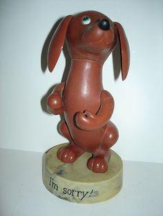 "DAKIN 1971 Dachshund Wiener Dog Goofy Grams 7"" Plastic Cartoon Figure I'm Sorry!"