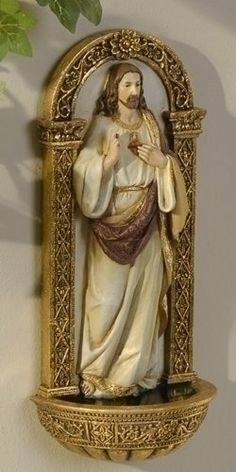 "Pack of 2 Joseph's Studio Sacred Heart of Jesus Holy Water Font Wall Sculpture by Roman. $44.99. From the Joseph's Studio Renaissance CollectionItem #62827Underneath Jesus there is a compartment for filling with Holy Water Holy Water is NOT includedHook on back for hanging on the wallDimensions: 7.125""H x 3.125""W x 2""DMaterial(s): Resin/Stone mixPack includes 2 of the item shownEach comes gift boxed"
