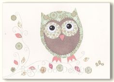 Owl Nursery Decor, Kids Artwork, Baby Girl Pictures, Print for Toddlers Room, Pink, Aqua 8 x 10 Print, Olive the Owl. via Etsy