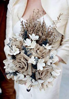 Pretty burlap wedding bouquet, perfect for a rustic winter wedding. Burlap Bouquet, Lace Bouquet, Diy Wedding Bouquet, Burlap Lace, Burlap Flowers, Chic Wedding, Fabric Flowers, Our Wedding, Wedding Flowers