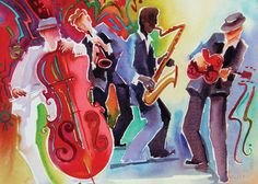 Deborah L. Hoover's jazz-themed watercolor painting