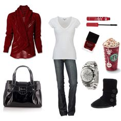 Cute outfit for Winter Time. :) I also think it is hilarious that an accessory for this outfit is a Starbucks drink.
