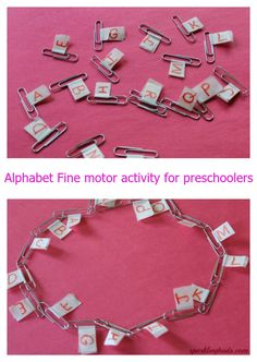 Alphabet as well as fine motor activity for preschoolers! Repinned by SOS Inc. Resources pinterest.com/sostherapy/.