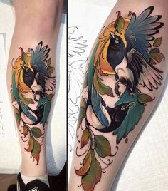 [New] The 10 Best Tattoo Ideas Today (with Pictures) - Amazing work by: Location: Ireland Tag us for share! Future Tattoos, Love Tattoos, Beautiful Tattoos, Body Art Tattoos, Calf Tattoo, I Tattoo, Magpie Tattoo, Bird Tattoo Sleeves, Tattoo Collection