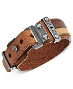 Fossil Men's Bracelet, Silver-Tone Brown Leather Double Wrap Cuff Bracelet - Men's Jewelry & Accessories - Jewelry & Watches - Macy's