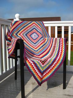 Giant grannie square blanket
