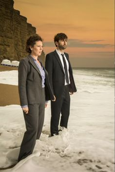 David Tennant Photo Of The Day - 12th May 2014:  As DI Alec Hardy in a promo shot for 'Broadchurch' (with Olivia Colman as DS Ellie Miller) - March 2013