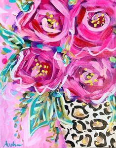 Leopard and Rose Original Painting on Canvas – Audra Style Art Acrylics, Original Paintings, Windows, The Originals, Canvas, Rose, Prints, Ideas, Art
