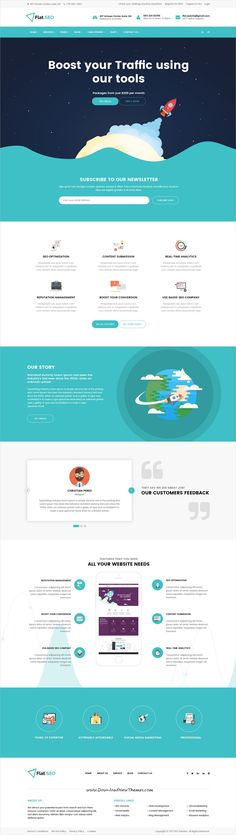 Flat SEO is clean and modern design #PSD template for SEO, social media marketing agencies website with 12 layered PSD pages download now.. #psdtemplate #webdesign