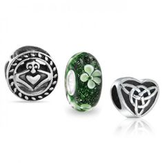 Bling Jewelry 925 Sterling Celtic Claddagh Heart Clover Bead Set Fits Pandora