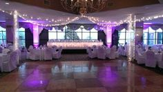 I really love how the purple uplighting that I designed for Mary and Dave accents the design that the Avalon Hotel in Erie PA did around the dance floor complimenting each other so nicely!