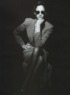 Ines Rivero for Giorgio Armani by Peter Lindbergh -- FW 1995 Peter Lindbergh, Monochrome Photography, Fashion Photography, Ines Rivero, Armani Suits, Armani Women, Shady Lady, 90s Models, Portraits