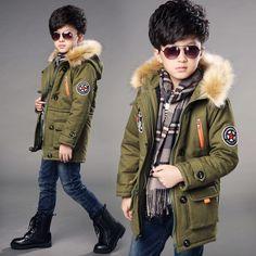 31.56$  Watch now - https://alitems.com/g/1e8d114494b01f4c715516525dc3e8/?i=5&ulp=https%3A%2F%2Fwww.aliexpress.com%2Fitem%2FWinterjas-jongen-Children-s-army-coat-fashion-hooded-cotton-zipper-Military-green-dark-blue-wine-red15years%2F32748256122.html - boys winter coat 2016 new High Quality boys winter jacket fur Hooded Warm thickening outerwear & coats child winter coat boy 31.56$