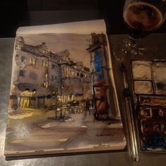More Copenhagen night sketching in a café on the corner of Studiestæd and Vester Voldgade. #watercolour #sketch #urbansketchers #copenhagen #københavn #art #painting #watercolour_gallery #pleinair #plein_air_forum