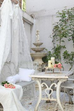 French styled shabby chic fountain