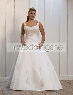 Terrific A-line Square Floor-length Court Appliques Plus Size Wedding Dresses : Weddingshe.com plus size wedding gowns