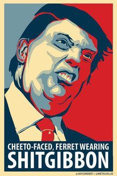 "2016's Headline of the Year: ""CafePress Takes Down T-Shirt Calling Donald Trump A Cheeto-Faced Shitgibbon, Saying It Violates Frito-Lay's Trademark"" | Techdirt (shirts, etc., now available via http://www.redbubble.com/shop/shitgibbon )"