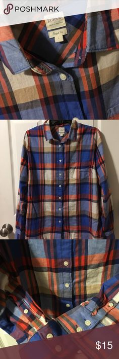 J Crew Women Flannel Button Down Shirt L Large Great Blue, Orange, Tan, White and Navy Flannel Perfect Fit Button Down from J Crew! Only worn once! Such a steal! J. Crew Tops Button Down Shirts
