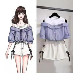 Product details of Korean Loose Off Shoulder Short Sleeve Embroidery Shirt + Jeans Shorts Womne's Summer Dress Suit Ferture: Soft,Comfortable Size (female): S-XXL Occasion: Casual High quality Plus size shorts shorts shorts shorts outfits shorts Girls Fashion Clothes, Teen Fashion Outfits, Girl Fashion, Clothes For Women, Style Fashion, Fashion Drawing Dresses, Fashion Illustration Dresses, Fashion Dresses, Cute Casual Outfits