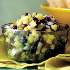 This pineapple salsa would make a great appetizer at any party. Serve the salsa with tortilla chips.