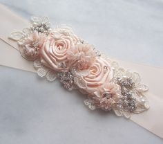 Blush Bridal Sash Blush Flower Bridal Sash by TheRedMagnolia, $118.00