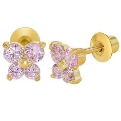 067d05ee195a 18k Yellow Gold Plated Pink Crystal Butterfly Girl Children Screw Back Baby  Earrings