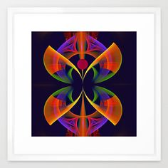 The Neon Butterfly, fractal fantasy abstract Framed Art Print