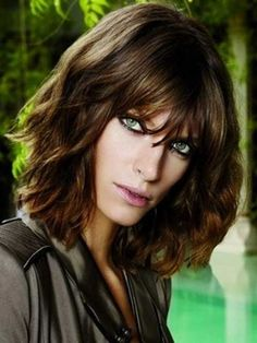 Short Wavy Layered Bob with Bangs Hair