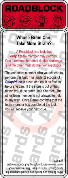 Roadblock task for 1 member of the Team