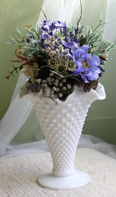 Milk Glass Hobnail Vase. Fenton Milk Glass by AnythingDiscovered, $36.00