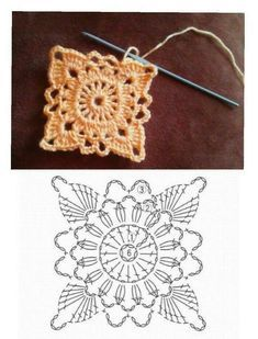How to Crochet a Solid Granny Square Crochet Motif Patterns, Granny Square Crochet Pattern, Crochet Blocks, Crochet Diagram, Crochet Squares, Crochet Diy, Filet Crochet, Crochet Doilies, Crochet Flowers