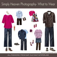 """Here are some ideas for what to wear for upcoming family portraits. For more ideas be sure to check out past editions of """"What to Wear"""" in the categories menu above. Family Photo Colors, Family Picture Outfits, Clothing Photography, Family Photography, Photography Ideas, Photography Outfits, Contrast Photography, Newborn Photography, Figure Photography"""