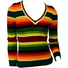 1960s Small Sweater Striped Rainbow Colorful Funky Boho Hippie Earthy... ($49) ❤ liked on Polyvore featuring tops, sweaters, boho sweater, vintage sweaters, ribbed v neck sweater, striped sweater and colorful sweaters
