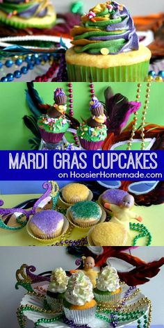 Mardi Gras Cupcakes | Recipes on HoosierHomemade.com