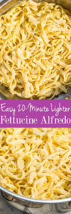 Easy 20-Minute Lighter Fettucine Alfredo - The creamy and cheesy taste you crave minus the extra fat and calories!! A fast and easy recipe that's perfect for busy weeknights that everyone loves!!