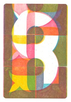 "Brad Vetter, Modular #2, 5-color letterpress print mounted on wood panel, 5""x7"", 2010"