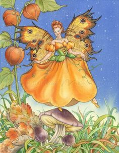 """Pumpkin Fairy"" mural by Barbara Lanza."
